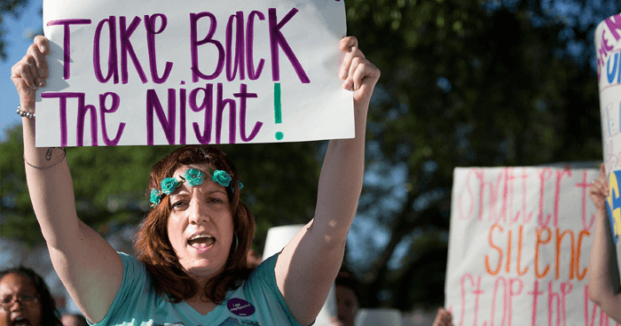 Female classmates were marching in a group, protesting against sexual assault